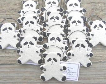 Panda Bear Baby Shower Set of 10 Salt Dough Ornaments / Party Favor Ornaments
