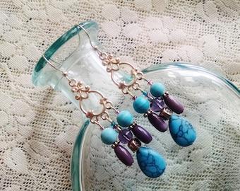 Turquoise chandelier earrings, Bohemian gypsy long silver chandelier earrings with turquoise and purple cats eye