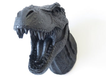 T-Rex Dinosaur Head Wall Mount - Black Dinosaur Head - Jurrasic Home Decor- Matte Black Dinosaur Faux Taxidermy NTX17