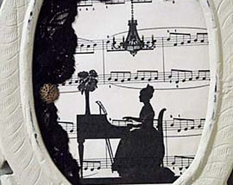 Wall art, wall decor, home decor, silhouette, music theme, piano art, cottage chic, framed art, mixed media, collage