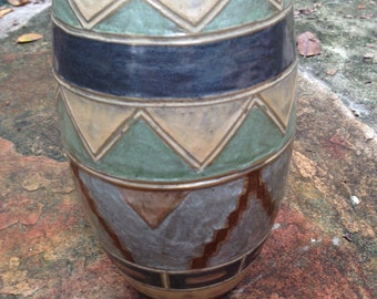 Beautiful Vintage  Brass and Enamel Vase made in India