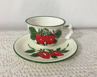 Wonderful And Whimsical Vintage Hand Painted  Strawberry Cup And Saucer Set ~ Made In Japan