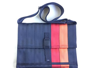 Red and Orange Seatbelt Bag with Magnetic Buckle (M-7)