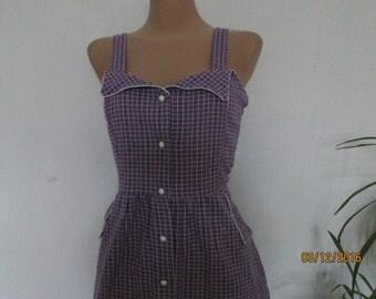 Cotton Dress / Dress Vintage / Violet Cotton Dress / Summer Dress / Sleeveless / Knee Length / Violet  White Dress / Dress Size EUR40 / UK12