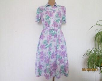 Dress Floral / Shirtdress / Dress Vintage / Dress Size EUR40 / UK12 / Elastic Waist