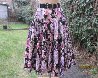 Cotton Skirt / Circle Skirt / Circle Cotton Skirt / Skirt Vintage / Full / Size EUR 38/ UK10 / Floral