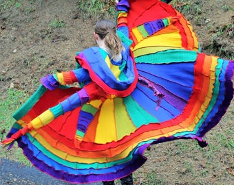 AVAILABLE NOW!!!! Rainbow Spiral Patchwork Gipsy Coat
