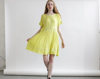 Eyelet Trim Party Dress ,Yellow party dress, Yellow Summer Dress.