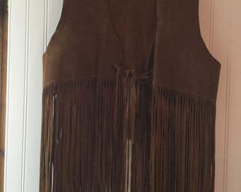 Vintage Rusty Brown Suede Long Fringe Hippie Vest
