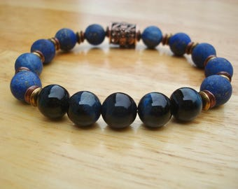 Men's Spiritual Healing, Harmony, Fortune Bracelet with Semi Precious Matte Lapis Lazuli, Hawcks Eye or Blue Tiger's Eye, Boho man Bracelet