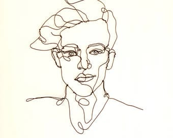 Dandy, Wire Portrait of handsome Man, Wire Wall Art, Sculpture