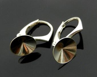 EXCLUSIVE Sterling Silver Lever Back ear hooks earrings for Swarovski Crystals Rivoli 8mm 925