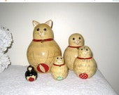 Cat Nesting Dolls, Vintage Matryoshka Set of 5, Hand Painted & Lacquered Folk Art Babushka Cat Dolls