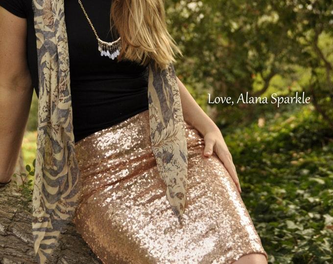SALE til 11/23 Blush Pencil Sequin Skirt - Stretchy, beautiful knee length skirt (S,M,L,XL)  Ships asap!