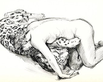 """Embrace - Original Pen & Ink Sketch - Archivally Matted and Mounted for Standard 8x10"""" Frame"""