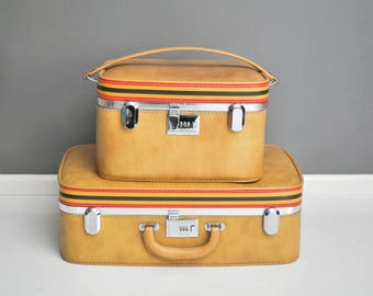 Mid-Century Ventura Suitcase Set - Striped Luggage Set