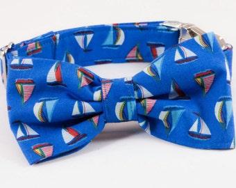 Nautical Sailboat Dog Bow Tie Collar