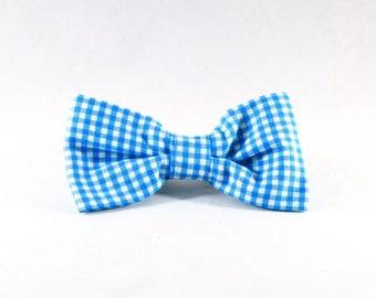 Preppy Aqua Blue Gingham Dog Bow Tie