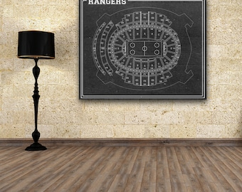Print of Vintage Madison Square Garden New York Rangers Seating Chart on Your Choice of Photo Paper, Matte Paper, or Stretched Canvas