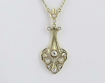 Art Deco Lavaliere Pendant Necklace - 14k Gold Diamond & Seed Pearls .10ct N3873