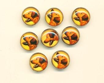 Vintage Yellow Labrador Retriever  Dog Buttons - Set of 8 ca.1990's