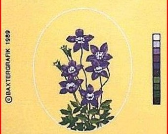 Royal Bluebell Floral Needlepoint Canvas