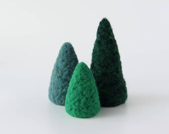 3 Needle Felted Trees Gnome Christmas Home Decor