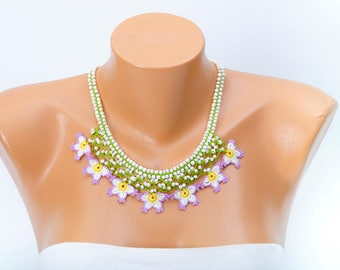 Bib necklace beaded crochet oya necklace  ,crochet  bip crochet fiber  necklace ,