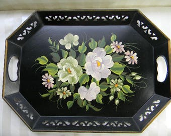 Vintage Tole Painted Tray, Pilgrim Art, Hand Decorated