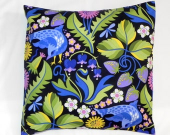Decorative Pillow Covers. Set of Two 16x16. Blue, purple, pink, green and yellow Jane Sassaman Early Birds fabric