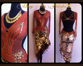 Gold Latin Dance Dress    Dance Latin Dresses   Dark Brown and Gold Dance Dresses