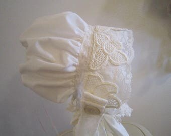Lacy White French Bonnet
