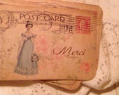 Jane Austen Tags, Vintage Style Tags, French Style Tags, Anniversary Tags, Wedding Favors, Birthday Favors, Cream Hand Tattered Seam Binding