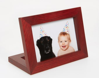 """Purple heart horinzontal free standing 4""""x6"""" picture frame"""