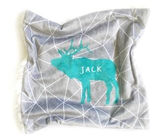 JACK - soft minky 'Lovey blankie' - Deer - Animal - New baby blanket - Fur blanket - Security blanket - Geometric