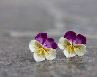Purple White Yellow Pansies Kiss me quick Flower Floral Handmade Stud Earrings Small Hypoallergenic Studs Polymer Clay Women Wedding Bridal