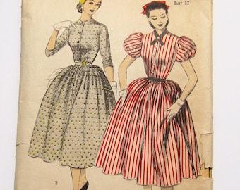 Vintage Dress Pattern: 1952 Advance 6154, Full Skirt Button Front Dress