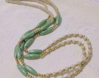 Vintage Trifari Green Beige Long Multi Strand Beaded Necklace
