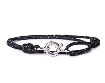 Bracelet for Men - Cord Bracelet for Men - Mens Naval Bracelet - Sterling Silver Men's Bracelet - Navy cord bracelet for men - Man Bracelet