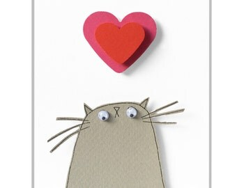 Cat Valentine Card, I Love Mew Card, Grey Cat Card, I Love You Card, Valentine Card from The Cat, Love Card for Cat Lover, Grey Kitty Card