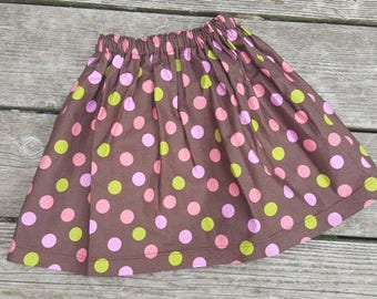 SALE - Brown with Pink and Green Polka Dots Skirt - Size 5T