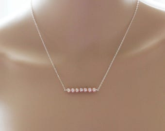 Natural light pink pearl necklace- Pink pearl necklace- Light pink pearls - Sterling silver- Pink bridesmaid necklace- Something pink