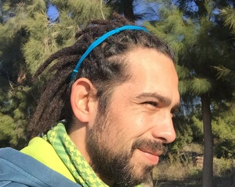 Dreadlock headband, man headband, headband for him, gift for him, men hair accessory, rasta headband, blue headband, fabric headband