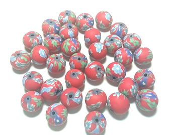 20 Fimo Polymer Clay Round Beads red green flowers beads 12mm