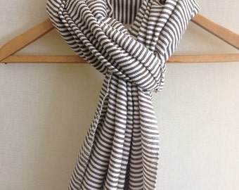 SCARF- Cotton ticking stripe scarf for men and women In Dark Chocholate - DARK CHOCHOLATE- Dark Brown