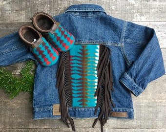Cheyenne Hipster Jean Jacket 4T // Turquoise Pendleton Leather Fringe // Rosebud Originals
