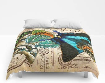 Vintage Postcard BUTTERFLY Duvet Cover or Comforter, Blue Bedding, Retro, Bedspread, Bed Cover, Turquoise, Teal Blue, Orange, shabby chic