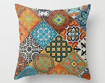Talavera Tiles Throw Pillow, Burnt Orange Aqua Turquoise Teal Blue Black White Rust Red, bohemian Indoor Outdoor Bright vivid colors Vintage
