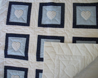 White and blue baby quilt, hand-appliqued hearts