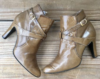 7 | 1980's Vintage Heeled Strappy Ankle Booties